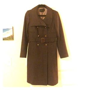 Olive green military-style pea coat